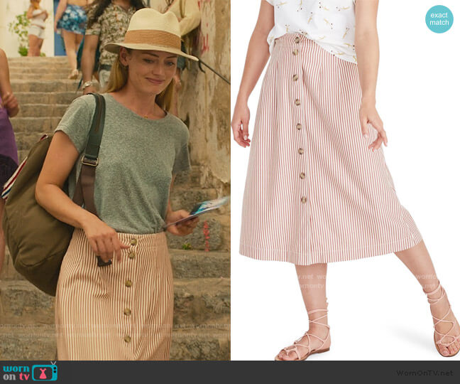 Patio Stripe Button Front Midi Skirt by Madewell worn by Zoe Walker (Laura Haddock) on White Lines