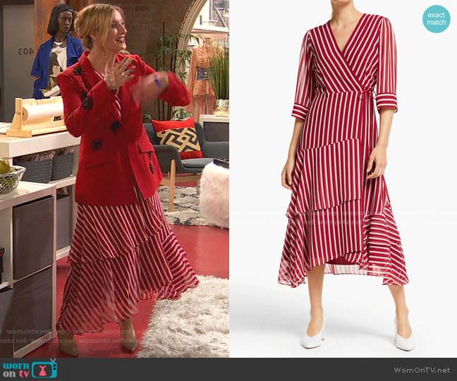 Fortuna Stripe Dress by Marella worn by Chelsea Grayson (Anneliese van der Pol) on Ravens Home