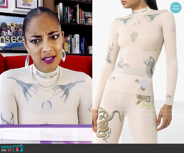 tattoo print mock neck top by Marine Serre worn by Amanda Seales  on The Real