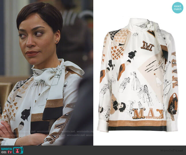 Sketch Print Scarf Blouse by Max Mara worn by Lucca Quinn (Cush Jumbo) on The Good Fight