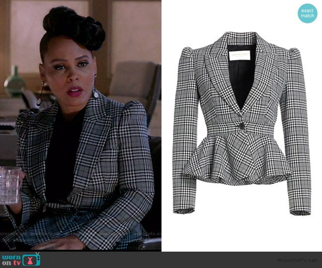 Plaid Virgin Wool Peplum Jacket by Michael Kors worn by Tegan Price (Amirah Vann) on HTGAWM