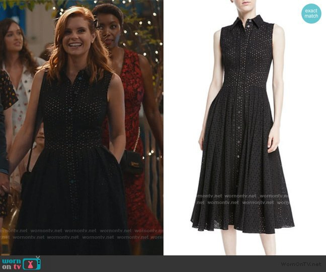 Sleeveless Button-Front Fit-and-Flare Cotton Eyelet Shirtdress by Michael Kors worn by Maddie Townsend (JoAnna Garcia Swisher) on Sweet Magnolias