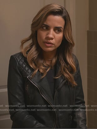 Michelle's black quilted leather moto jacket on Dead to Me