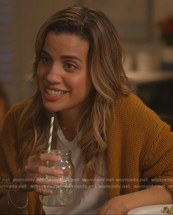Michelle's mustard cardigan on Dead to Me
