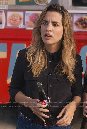 Michelle's black silk blouse on Dead to Me