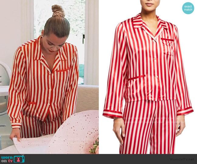Ruth Stripe Print Top and Pants by Morgan Lane worn by Khloe Kardashian  on Keeping Up with the Kardashians
