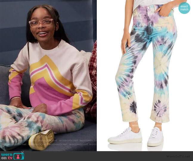The Tripper Tie-Dye Kick Flare Jeans in Swirling Secrets by Mother worn by Diane Johnson (Marsai Martin) on Blackish