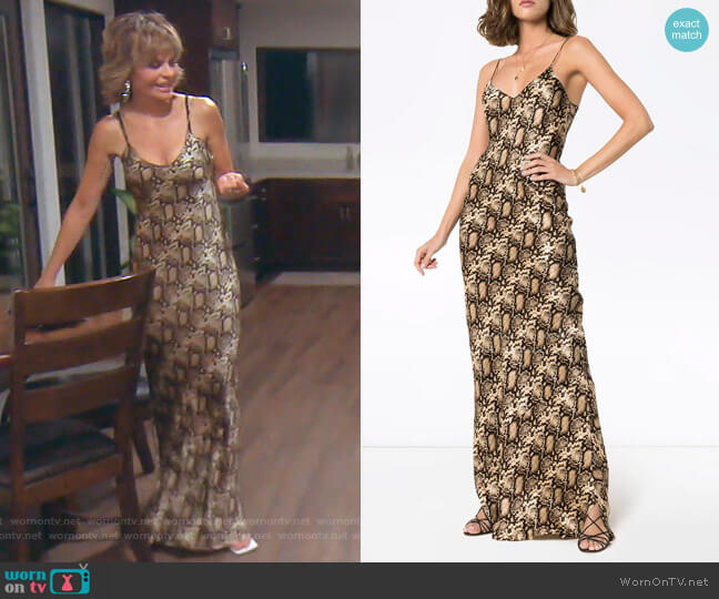 V-Neck Snake-Print Maxi Dress by Nili Lotan worn by Lisa Rinna  on The Real Housewives of Beverly Hills