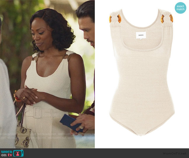 Maike Ring Detailed Terry-Knit Bodysuit by Nanushka worn by Molly Carter (Yvonne Orji) on Insecure