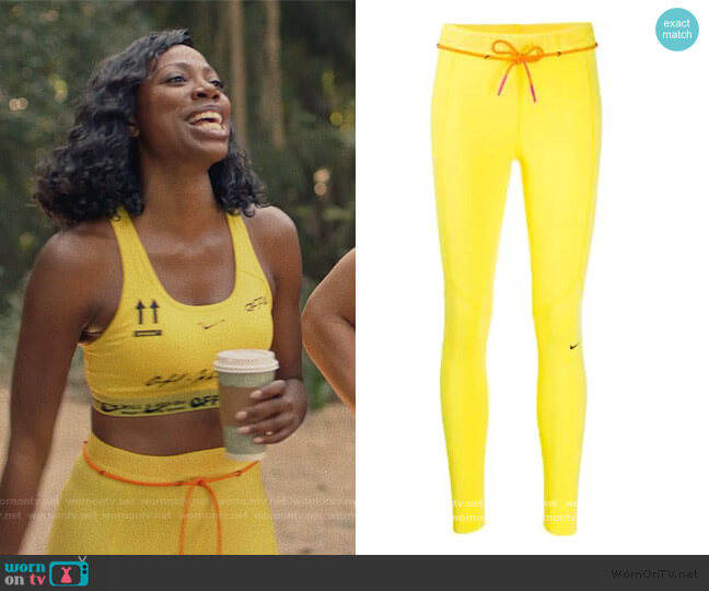 x Nike logo waistband performance leggings by Off-White worn by Molly Carter (Yvonne Orji) on Insecure