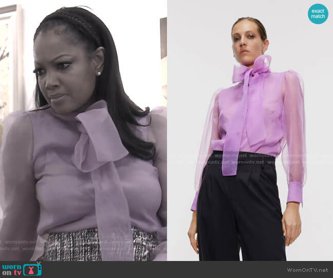 Organza Blouse with Bow Detail by Zara worn by Garcelle Beauvais  on The Real Housewives of Beverly Hills