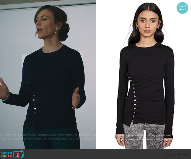Black Long Sleeve Top by Paco Rabanne worn by Wendy Rhoades (Maggie Siff) on Billions