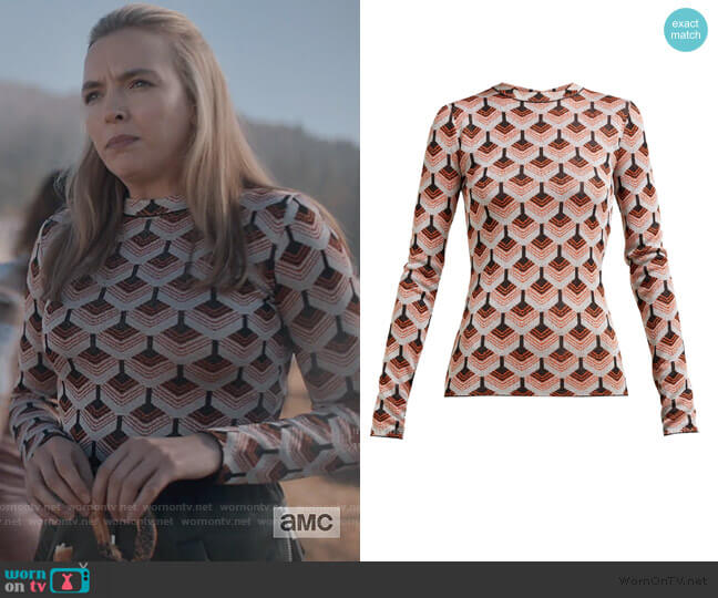 Geometric metallic-jacquard top by Paco Rabanne worn by Villanelle (Jodie Comer) on Killing Eve