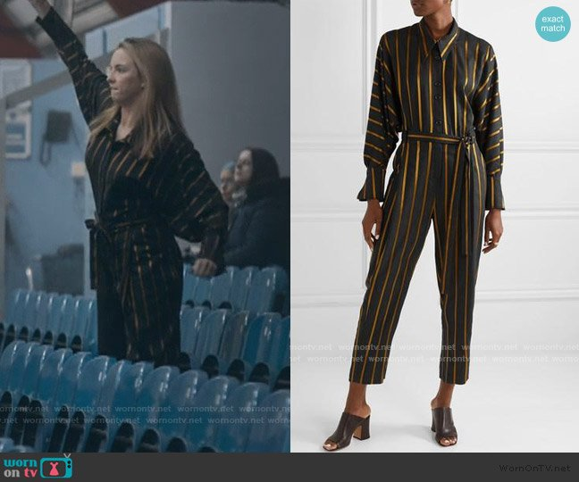 Striped Metallic Jacquard Jumpsuit by Palmer Harding worn by Villanelle (Jodie Comer) on Killing Eve