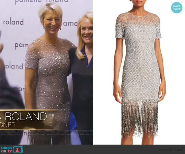 Sequin Fringe Hem Sheath Dress by Pamella Roland worn by Dorinda Medley  on The Real Housewives of New York City