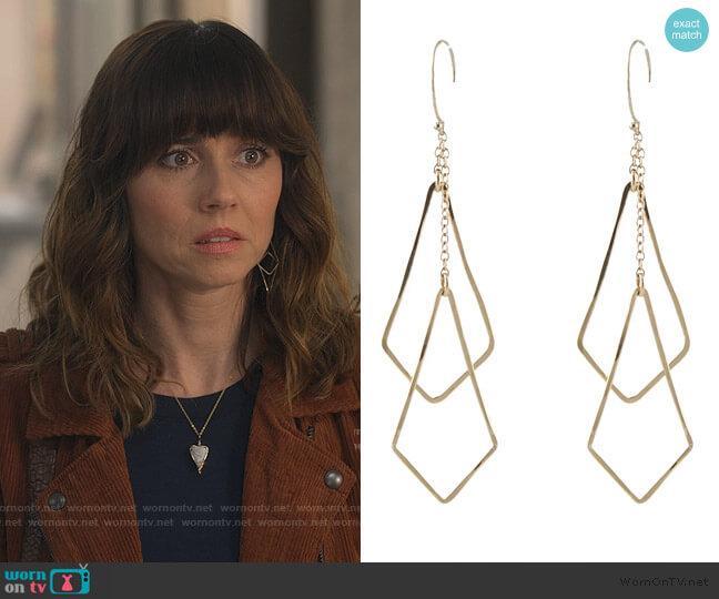 Diamond Shape Chime Earrings by Peggy Li worn by Judy Hale (Linda Cardellini) on Dead to Me