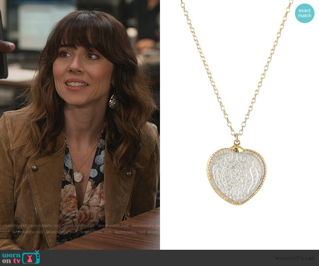 Carved Floral Heart Necklace by Peggy Li worn by Judy Hale (Linda Cardellini) on Dead to Me