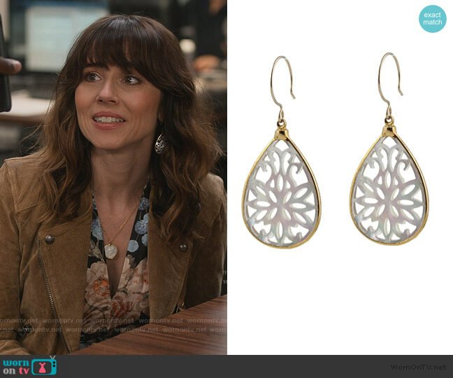 Scrollwork Mother of Pearl Earrings by Peggy Li worn by Judy Hale (Linda Cardellini) on Dead to Me