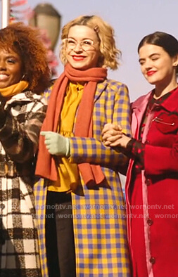 Pepper's blue and yellow check coat on Katy Keene
