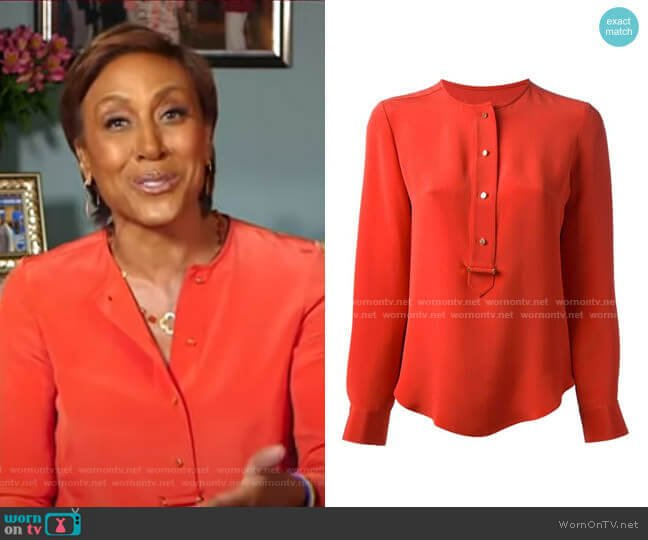 Placket Silk Shirt by Derek Lam worn by Robin Roberts  on Good Morning America
