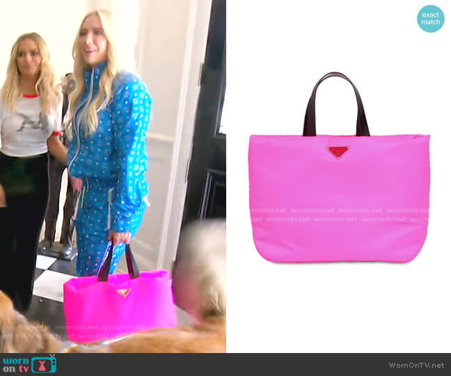 Puffer Nylon Tote Bag by Prada worn by Erika Girardi  on The Real Housewives of Beverly Hills