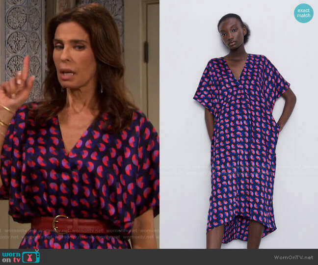 Printed Oversized Dress by Zara worn by Hope Williams (Kristian Alfonso) on Days of our Lives