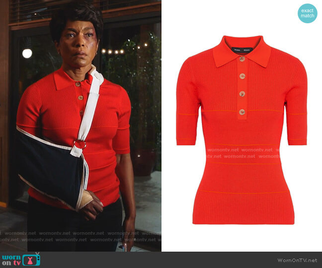 Striped ribbed Polo Shirt by Proenza Schouler worn by Athena Grant (Angela Bassett) on 9-1-1