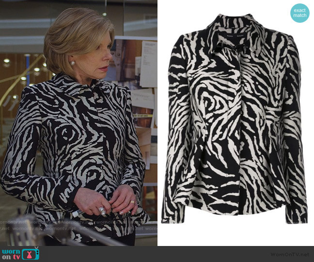 Zebra Cotton Jacquard Short Jacket by Proenza Schouler worn by Diane Lockhart (Christine Baranski) on The Good Fight