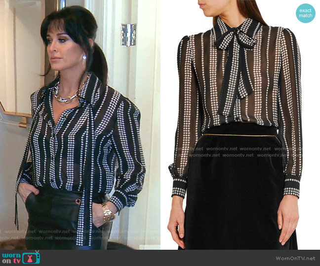 Pussy-bow Printed Silk-georgette Shirt by Saint Laurent worn by Kyle Richards  on The Real Housewives of Beverly Hills