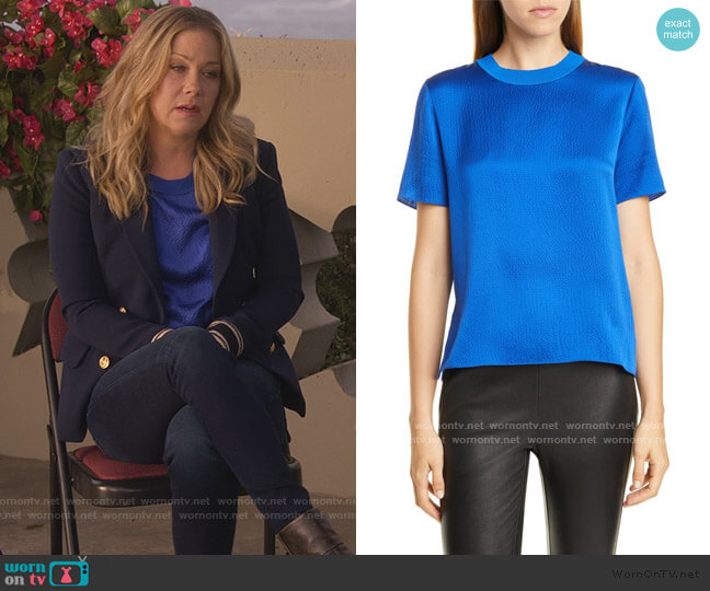 Ali Hammered Silk Short Sleeve Top by Rag and Bone worn by Jen Harding (Christina Applegate) on Dead to Me