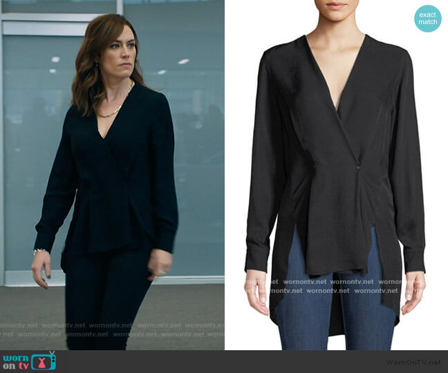 Debbie Draped V-Neck High-Low Top by Rag and Bone worn by Wendy Rhoades (Maggie Siff) on Billions