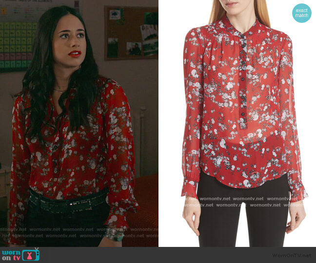 Susan Floral Print Silk Blouse by Rag and Bone worn by Liz Ortecho (Jeanine Mason) on Roswell New Mexico