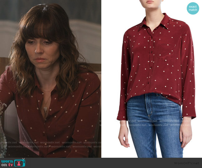 Kate Stars Silk Shirt by Rails worn by Judy Hale (Linda Cardellini) on Dead to Me