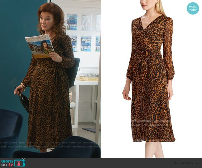 Ocelot-Print Georgette Dress by Ralph Lauren worn by Lorna Harding (Valerie Mahaffey) on Dead to Me