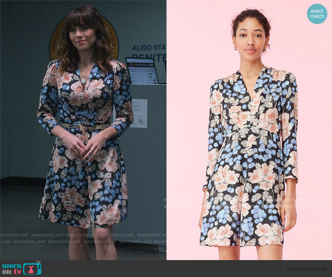 Blush Rose Swirl Dress by Rebecca Taylor worn by Judy Hale (Linda Cardellini) on Dead to Me
