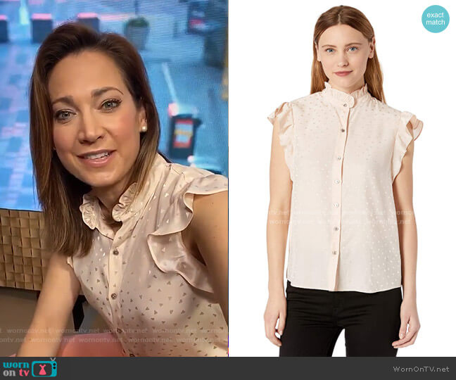 Sleeveless Ruffle Sleeve Silk Top by Rebecca Taylor worn by Ginger Zee  on Good Morning America