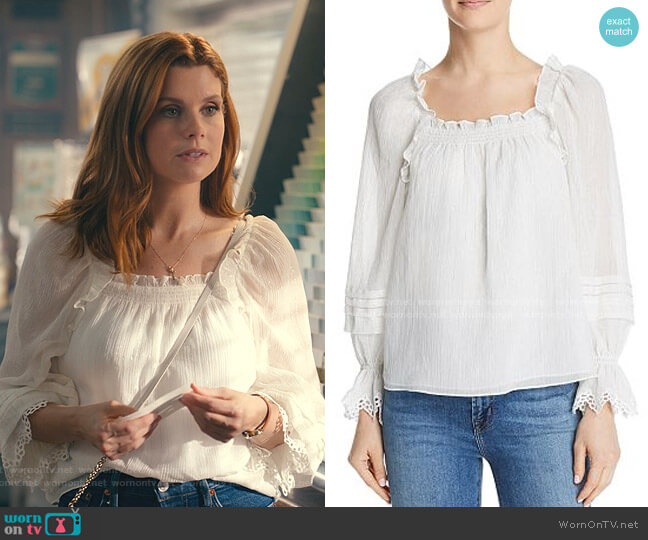 Ruffled Metallic Top by Rebecca Taylor worn by Maddie Townsend (JoAnna Garcia Swisher) on Sweet Magnolias