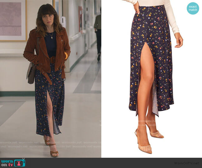 Zoe Split Skirt in Cecile by Reformation worn by Judy Hale (Linda Cardellini) on Dead to Me