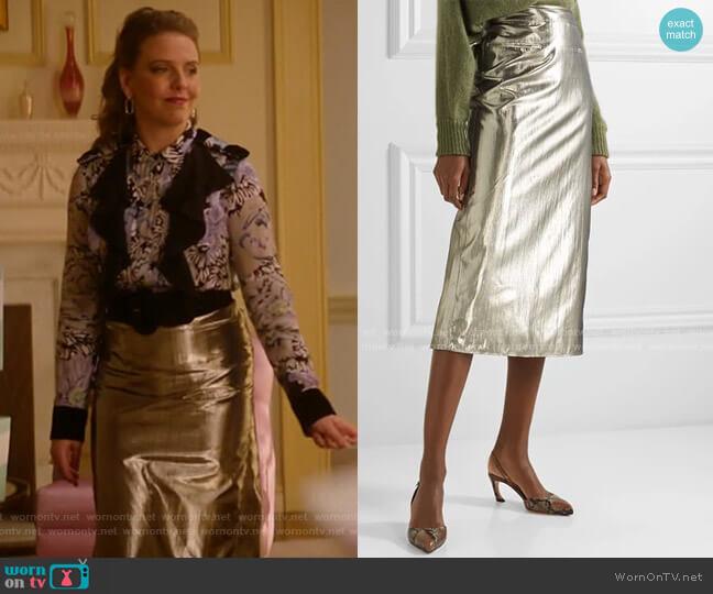 Mina Lame Skirt by Rejina Pyo worn by Amanda (Helene Yorke) on Katy Keene