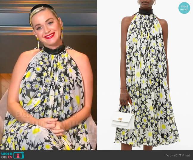 Halterneck Daisy-Print Chiffon Dress by Richard Quinn worn by Katy Perry  on American Idol