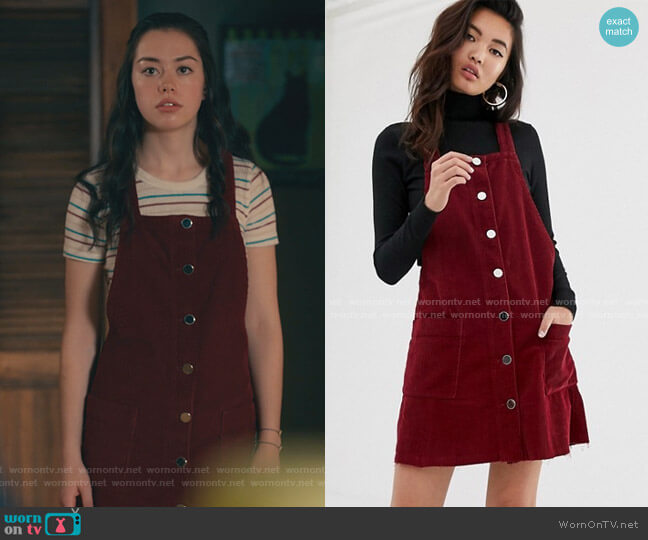 Cord Pinny Dress inBburgundy by River Island worn by Annie Sullivan (Anneliese Judge) on Sweet Magnolias