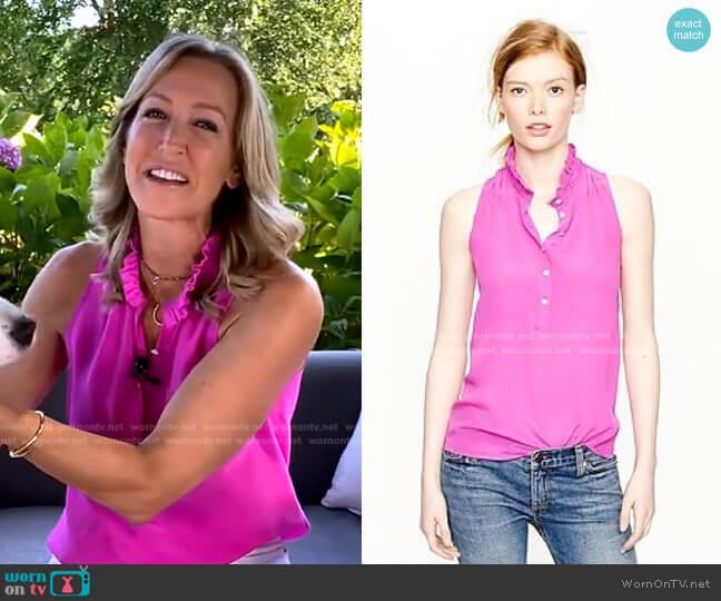 Ruffle Collar Sleeveless Blouse by J.Crew worn by Lara Spencer  on Good Morning America