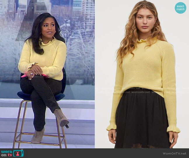 Ruffled Ribbed Sweater by H&M worn by Sheinelle Jones  on Today