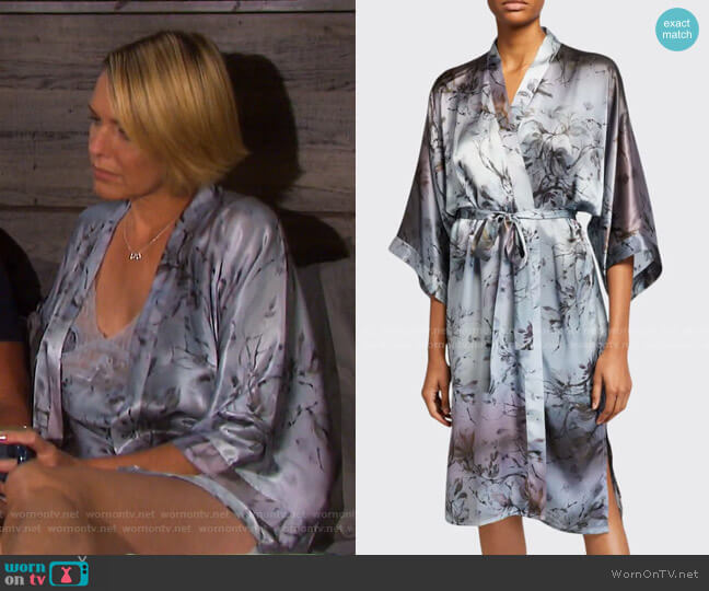 Floral-Print Classic Silk Kimono Robe by Samantha Chang worn by Nicole Walker (Arianne Zucker) on Days of our Lives