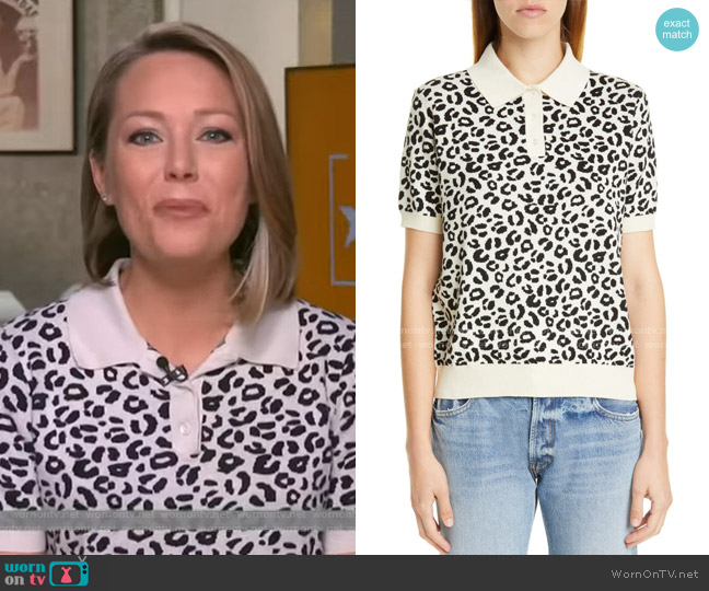 Snow Short Sleeve Polo Sweater by Sandy Liang worn by Dylan Dreyer  on Today