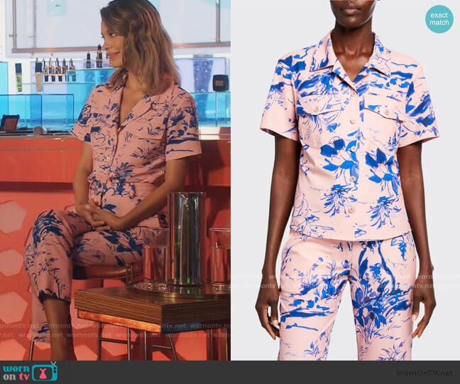 Nico Floral-Print Crepe Short-Sleeve Shirt and Pants by Sies Marjan worn by Noa Hamilton (Nathalie Kelley) on The Baker & the Beauty