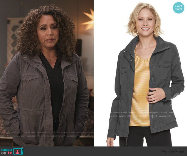 Utility Twill Jacket by Sonoma Goods For Life worn by Diana Maria Riva on Dead to Me