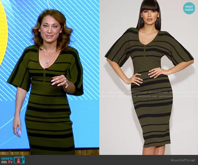 Stripe Sweater Sheath Dress - Gabrielle Union Collection by New York & Company worn by Ginger Zee  on Good Morning America