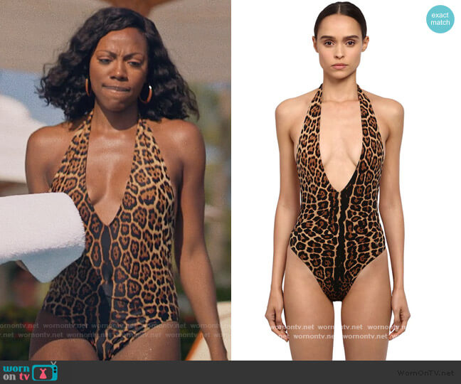 Leopard Print Lycra One Piece Swimsuit by Saint Laurent worn by Molly Carter (Yvonne Orji) on Insecure