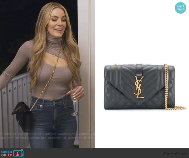 quilted envelope shoulder bag by Saint Laurent worn by Leah McSweeney  on The Real Housewives of New York City